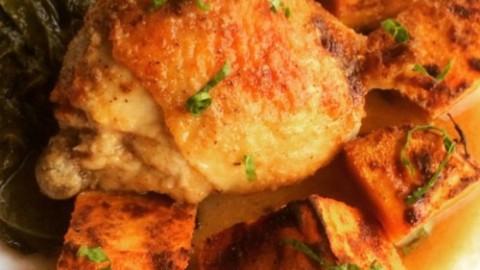 Brandy Garlic Chicken with Sweet Potatoes & Collard Greens