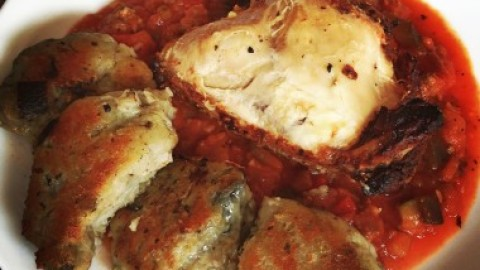 Roasted Chicken in a Spicy Tomato and Eggplant Sauce