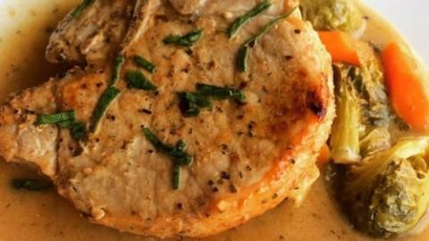 Pan-Roasted Sherry Garlic & Herb Pork Chops